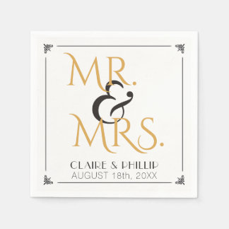 Art Deco Black Gold Wedding | Mr. and Mrs. Disposable Napkins