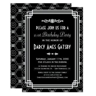 Art Deco Black & White Birthday Party Invites