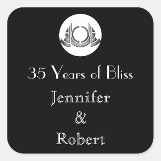 Art Deco Black White Medallion Envelope Seal Square Sticker