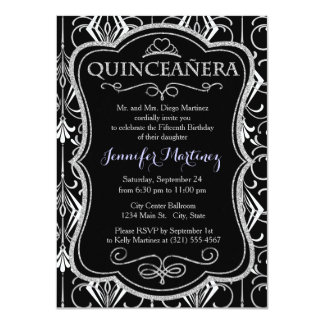 Art Deco, Black, White, Silver Retro; Elegant Personalized Invites