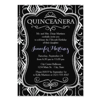 Art Deco, Black, White, Silver Retro; Elegant 11 Cm X 16 Cm Invitation Card