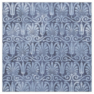 Art Deco Blue Fans and Scroll Work Fabric