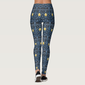 Art Deco Blue wrought iron Yellow Woman Head Leggings