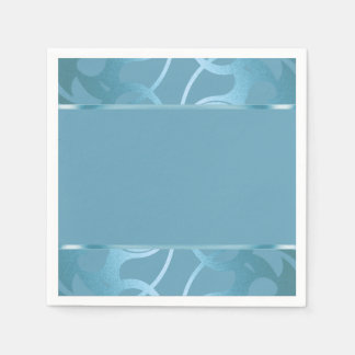 Art Deco Border Turquoise Disposable Napkin