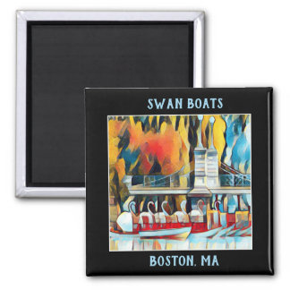 Art Deco Boston Swan Boats on black background Magnet