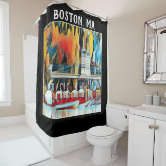 Art Deco Boston Swan Boats on black background Shower Curtain