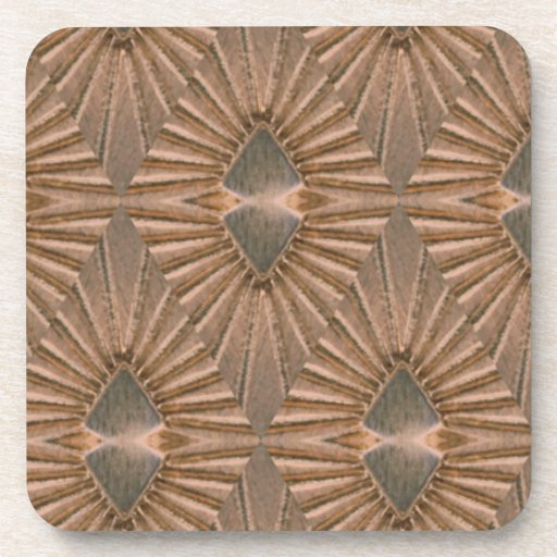 Art Deco Bronze Diamond Pattern Beverage Coasters
