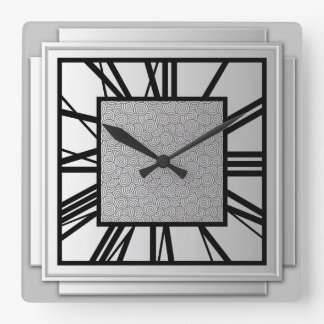 Art Deco, brushed silver Square Wall Clock
