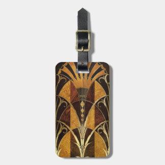 Art Deco Burl Wood Luggage Tag