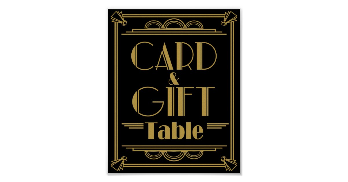 Art deco card and gift table wedding signs for Table 6 gift card
