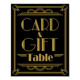 Art Deco Card and gift table wedding signs Poster