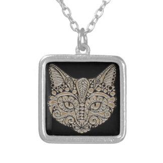 Art deco cat jewel emblem necklace