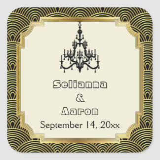 Art Deco chandelier seigaiha wedding Save the Date Square Sticker