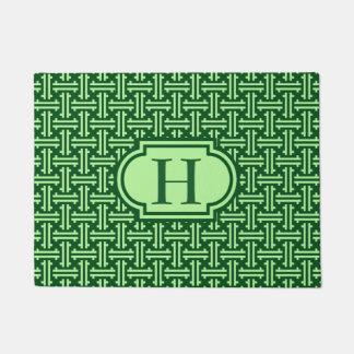 Art Deco Chinese Fret, Dark Jade Green Doormat