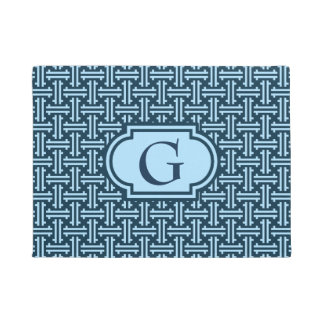 Art Deco Chinese Fret, Indigo and Sky Blue Doormat