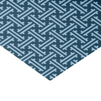 Art Deco Chinese Fret, Indigo and Sky Blue Tissue Paper