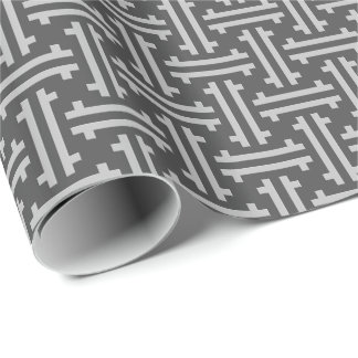 Art Deco Chinese Fret, Silver and Graphite Grey Wrapping Paper