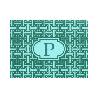 Art Deco Chinese Fret, Turquoise and Aqua Doormat