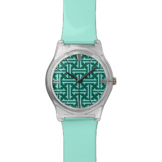 Art Deco Chinese Fret, Turquoise and Aqua Watch