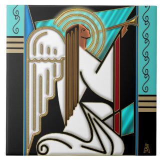 Art Deco Christmas Angel (Ceramic Tile) Large Square Tile