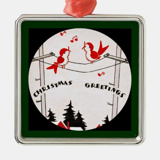 Art Deco Christmas Birds Ornament
