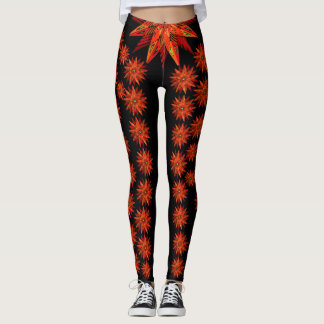 Art Deco Christmas Red Poinsettia on Black Leggings