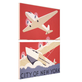 Art Deco City of New York Airplanes WPA Poster Canvas Prints