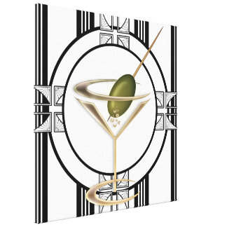 Art Deco Cocktails Wall Canvas Canvas Print
