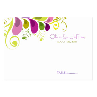 Art Deco Colorful Floral Leaves Wedding Place Card Business Cards
