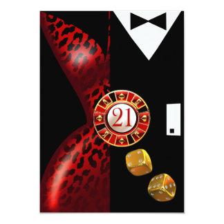 Art Deco Couple 21st Birthday | red leopard 13 Cm X 18 Cm Invitation Card