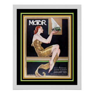 Art Deco Cover  Motor Magazine 16 x 20 Poster