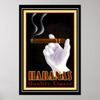 """Art Deco Cuban """"Habanas"""" Cigar Ad 13 x 19 Poster"""