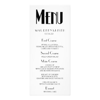 Art Deco Custom Wedding Dinner Menu Card