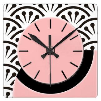 Art Deco Cut-A-Way (Plaza Pink+Black) Square Wall Clock