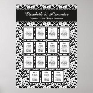 Art Deco Damask Wedding 15 Table Seating Chart Poster