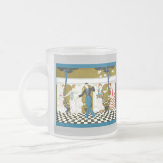 Art Deco Dance Frosted Glass Mug
