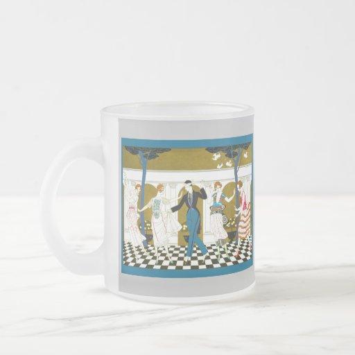 Art Deco Dance Frosted Glass Mug