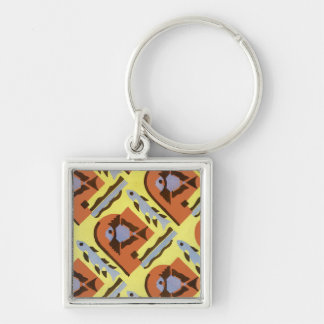 Art Deco Design #3@ Stylnic Silver-Colored Square Key Ring