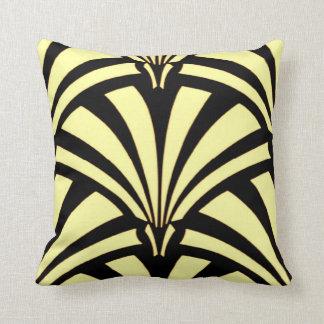 Art Deco Design Black & Yellow Throw Pillow