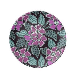 Art Deco Design PinkFlowers Porcelain Plate