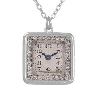 Art Deco Diamonds Watch Design Pendant Necklace