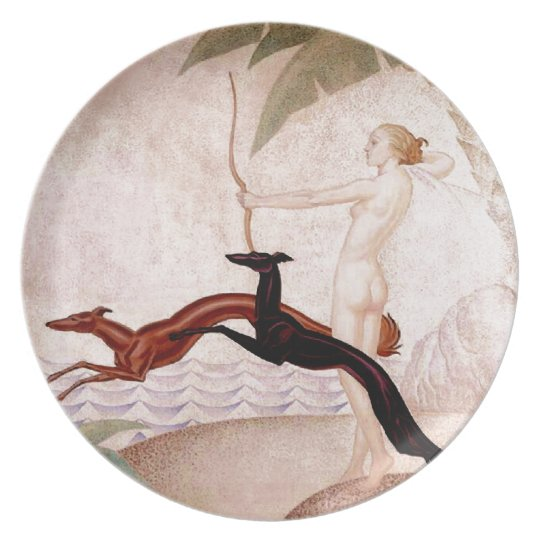 Art Deco Diana And Borzoi Plate