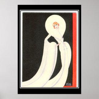 Art Deco Diva Star vintage Print Poster Print