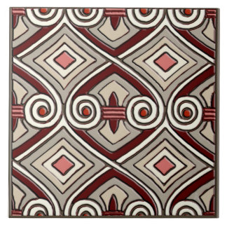 Art Deco Does Persia (Tan,Coral,Gray and Maroon) Tile