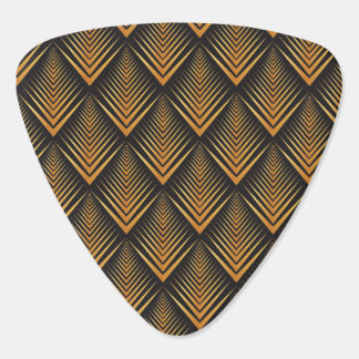 Art Deco Dragon Scales black & gold tan Plectrum