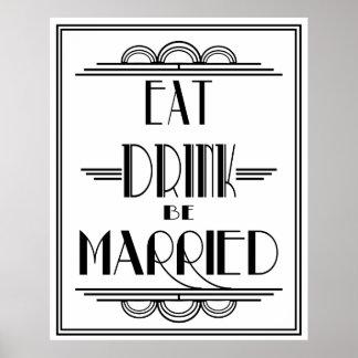 Art Deco Eat Drink be Married Print