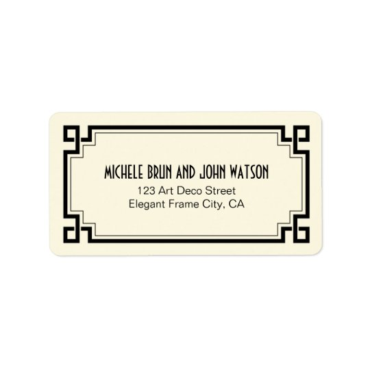 Art Deco Elegant Black Frame Custom Return Address Label