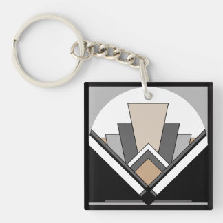 Art Deco Expression Double-Sided Square Acrylic Key Ring