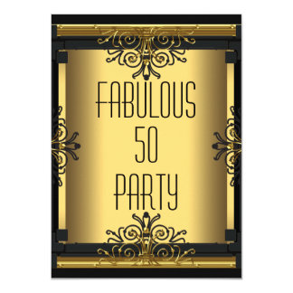 ART DECO Fabulous 50 50th Gatsby Birthday Party 11 Cm X 16 Cm Invitation Card