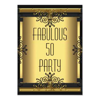 ART DECO Fabulous 50 50th Gatsby Birthday Party 4.5x6.25 Paper Invitation Card